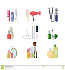 makeup hair salon flat beauty shop salon web app icons makeup hair tools stock