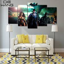 5 panels modern movie poster superman batman canvas painting wall