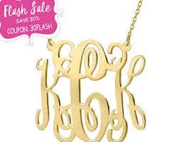 Gold Monogram Necklace Monogram Necklace Etsy