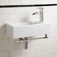 leiden porcelain wall mount sink with towel bar bathroom