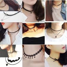 leather choker chain necklace images Best quality multi layer tattoo black leather choker necklace for jpg