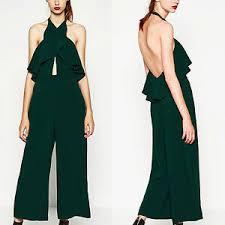zara jumpsuit zara green jumpsuit with crossover neckline all sizes xs