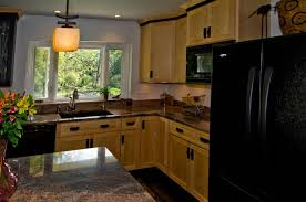 Black Cupboards Kitchen Ideas Rustic Brown Ceramic Floor Tile Beige Stone Tile Floor Small Wood