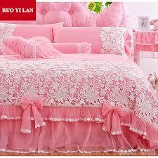 Princess Duvet Cover Online Shop White Pink Korean Princess Bedding Set 4pcs Lace