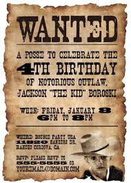 wanted poster invitation western cowboy by announceitfavors