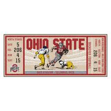 Ohio State Runner Rug State Buckeyes Ticket Runner Mat 29 5 X 72