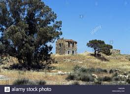 greece island lesbos polichnitos ruin house trees jaws rest