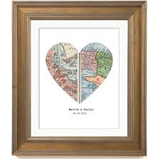 wedding gift map personalized map print custom wedding gift heart map print