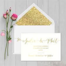 Save The Date Envelopes Gold Foil And White Save The Date Cards With Glitter Lined Envelopes