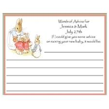 advice to the cards rabbit personalized baby shower advice card