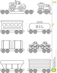 coloring pages set of different silhouettes children toys stock