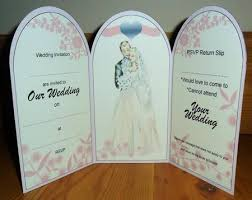 Tri Fold Invitations Tri Fold Wedding Couple Invitation U0026 Rsvp Respond Slip Card
