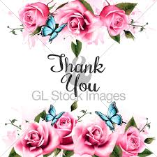 thank you background with beautiful roses and butterflies gl