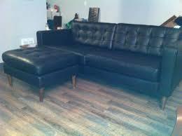 mid century ikea hack mid century leather karlstad sofa u0026 ottoman ikea hackers