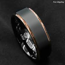 ring men tungsten carbide ring gold black brushed wedding band ring