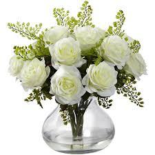 white rose u0026 maidenhair fern silk flower arrangement