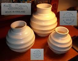 Keith Murray Wedgwood Vase English Porcelain Three Graduated Size Large Medium U0026 Small