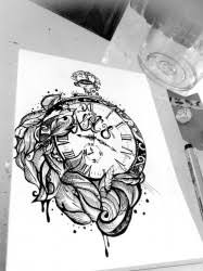 realistic 3d sand clock tattoo design ideas