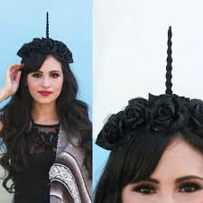 Unicorn Halloween Makeup by Black Unicorn Horn Flower Crown Fantasy Gypsy Boho Music Festival