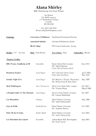 resume templates and exles resume template exle for performing arts with theatre credits