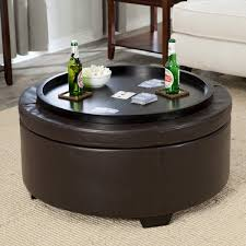 coffee table round coffee table ottoman storage brown leather