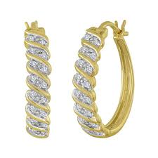 gold diamond hoop earrings 1 10 cttw gold silver diamond hoop earring