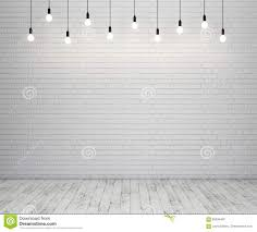 Wooden Floor by Painted Brick Wall And Wooden Floor With Glowing Light Bulbs Stock