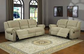Recliners Sofa Sets Beige Micro Suede Seat And Sofa Set With Recliner And Nail