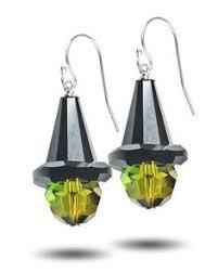 witch hat halloween crystal dangle earrings by beadshackjewelryhut
