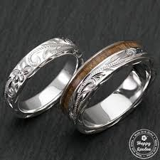 wedding ring sets sterling silver hawaiian jewelry wedding ring set with koa wood