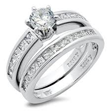 set ring sterling silver cubic zirconia cz wedding engagement