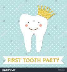 Party Invitation Card Cute First Baby Tooth Party Invitation Stock Vector 378465544
