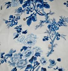 schumacher hollyhock floral cotton toile fabric blues white