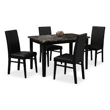 dining room table black shadow table and 4 chairs black american signature furniture