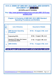 documentation sop u0026 exhibits for iso 9001 2015 pdf flipbook
