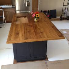 custom sink cut out u0026 oak kitchen island top furniture from the barn
