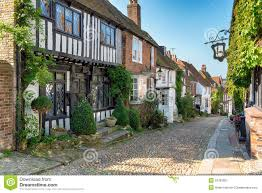 tudor houses on a cobbled street stock photo image 52781601