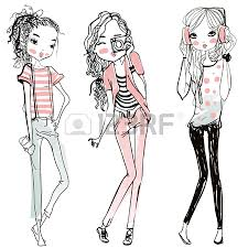 cute fashion cartoon girls in sketchy style royalty free cliparts