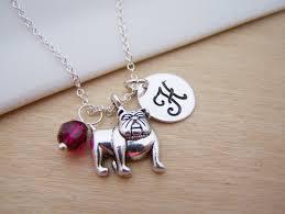 Personalized Sterling Silver Necklace Bulldog Dog Charm Swarovski Birthstone Initial Personalized