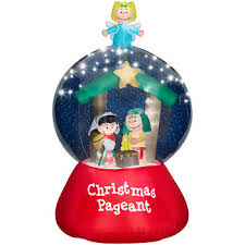 Christmas Yard Decorations Peanuts by Peanuts Nativity Snow Globe Airblown Inflatable Lighted Yard