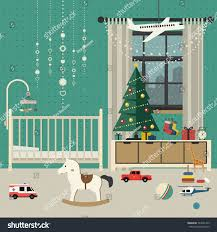 christmas tree baby room interior furniture stock vector 523631479