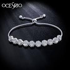 flower silver bracelet images Ocesrio simple aaa zircon bracelet adjustable flower silver charm jpg