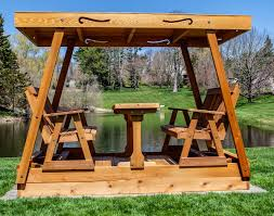 outdoor glider swing with table gliding picnic table gallery table decoration ideas