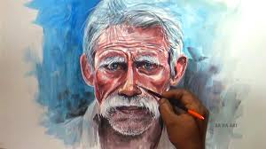 old man watercolor portrait painting old man portrait painting youtube