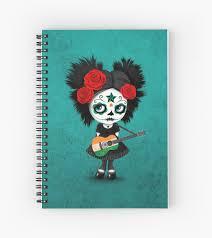 sugar skull indian flag guitar spiral notebooks by
