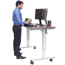 luxor standup cf60 dw adjustable standing desk with silver steel