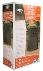 suncast 30 gal wicker trash can lowes canada patio garbage cans
