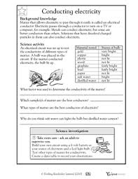 conducting electricity worksheets u0026 activities greatschools