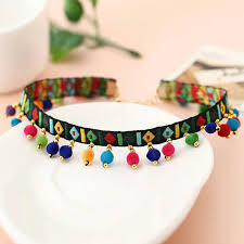 choker necklace handmade images Vintage ethnic choker necklace handmade embroidery tassel colorful jpg