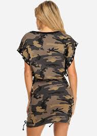 camouflage print crop top shirt and lace up shorts set